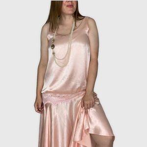 Vintage 80's Roaring 20's Satin Flapper Girl Dress